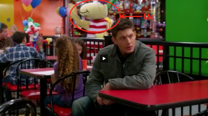 Me as mascot on supernatural season 7, episode 14.